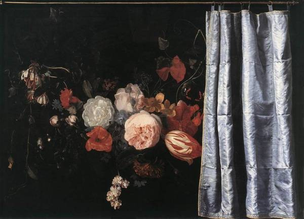 Flower Still Life With Curtain